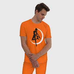Пижама хлопковая мужская Луна цвета оранжевый — фото 2
