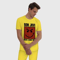 Пижама хлопковая мужская Bon Jovi: Have a nice day цвета желтый — фото 2