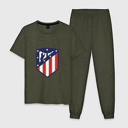 Пижама хлопковая мужская Atletico Madrid цвета меланж-хаки — фото 1