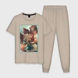 Пижама хлопковая мужская Stranger Things: Monster Flower цвета миндальный — фото 1