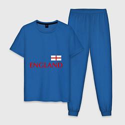 Пижама хлопковая мужская Сборная Англии: 10 номер цвета синий — фото 1