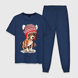 Пижама хлопковая мужская Чихуахуа в шапочке цвета тёмно-синий — фото 1