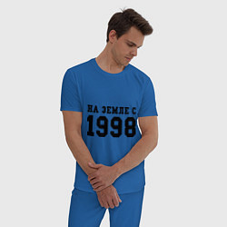 Пижама хлопковая мужская На Земле с 1998 цвета синий — фото 2