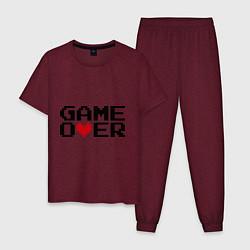 Пижама хлопковая мужская Game over 8 bit цвета меланж-бордовый — фото 1