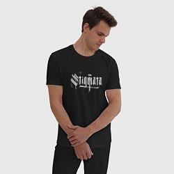 Пижама хлопковая мужская Stigmata цвета черный — фото 2