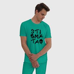 Пижама хлопковая мужская Stigmata цвета зеленый — фото 2