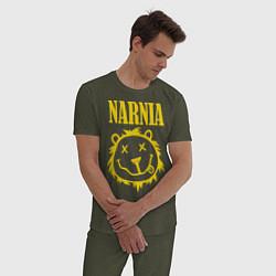 Пижама хлопковая мужская Narnia цвета меланж-хаки — фото 2