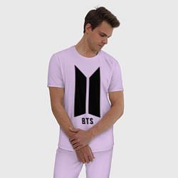 Пижама хлопковая мужская BTS Army цвета лаванда — фото 2