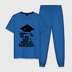 Пижама хлопковая мужская We dont need no edocation цвета синий — фото 1