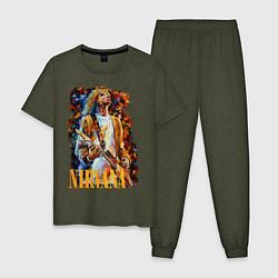 Пижама хлопковая мужская Cobain Art цвета меланж-хаки — фото 1