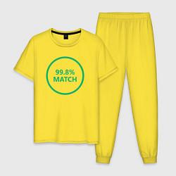 Пижама хлопковая мужская 99.8% Match цвета желтый — фото 1