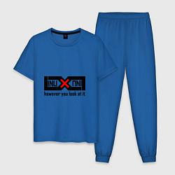 Пижама хлопковая мужская Linux как ни крути цвета синий — фото 1