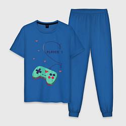 Пижама хлопковая мужская Perfect Team: Player 2 цвета синий — фото 1