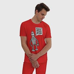 Пижама хлопковая мужская Построю свой мир цвета красный — фото 2
