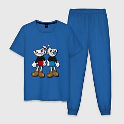 Пижама хлопковая мужская Cuphead: Mugman Friends цвета синий — фото 1