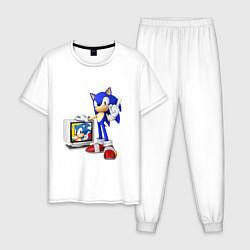 Пижама хлопковая мужская Sonic TV цвета белый — фото 1
