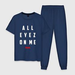 Пижама хлопковая мужская Tupac: All eyez on me цвета тёмно-синий — фото 1