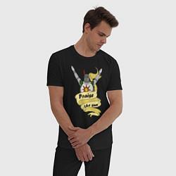 Пижама хлопковая мужская Praise the Sun цвета черный — фото 2