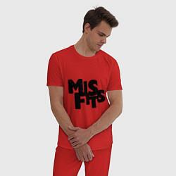 Пижама хлопковая мужская Misfits цвета красный — фото 2