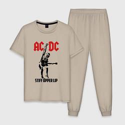 Пижама хлопковая мужская AC/DC: Stiff Upper Lip цвета миндальный — фото 1
