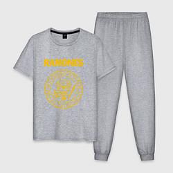 Пижама хлопковая мужская Ramones цвета меланж — фото 1