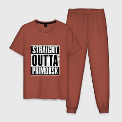 Пижама хлопковая мужская Straight Outta Primorsk цвета кирпичный — фото 1