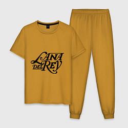 Пижама хлопковая мужская Lana Del Rey цвета горчичный — фото 1