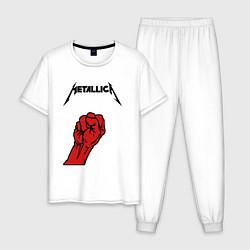 Пижама хлопковая мужская Metallica Fist цвета белый — фото 1