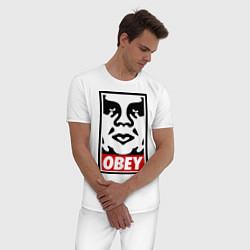 Пижама хлопковая мужская OBEY Face цвета белый — фото 2