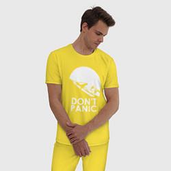 Пижама хлопковая мужская Elon: Don't Panic цвета желтый — фото 2