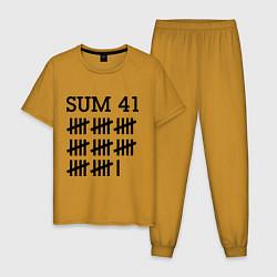 Пижама хлопковая мужская Sum 41: Days цвета горчичный — фото 1