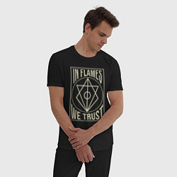Пижама хлопковая мужская In Flames: We Trust цвета черный — фото 2