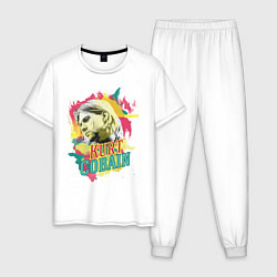 Пижама хлопковая мужская Kurt Cobain Paints цвета белый — фото 1