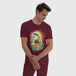 Пижама хлопковая мужская Kurt Cobain Paints цвета меланж-бордовый — фото 2