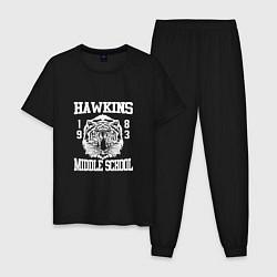 Пижама хлопковая мужская Hawkins Middle School цвета черный — фото 1