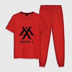 Пижама хлопковая мужская Monsta X цвета красный — фото 1