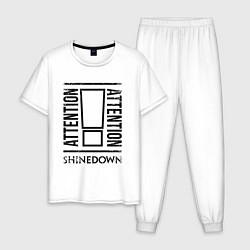 Пижама хлопковая мужская Shinedown: Attention цвета белый — фото 1