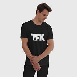 Пижама хлопковая мужская TFK: White Logo цвета черный — фото 2