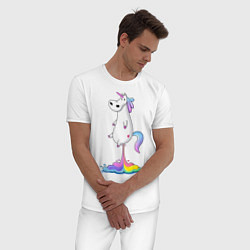 Пижама хлопковая мужская Взлет единорога цвета белый — фото 2