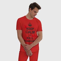 Пижама хлопковая мужская Keep Calm & Kill Zombies цвета красный — фото 2