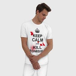 Пижама хлопковая мужская Keep Calm & Kill Zombies цвета белый — фото 2