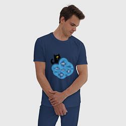 Пижама хлопковая мужская Кот программиста цвета тёмно-синий — фото 2