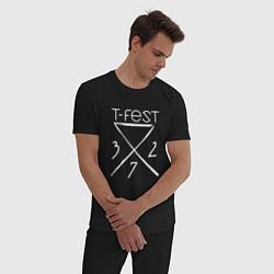 Пижама хлопковая мужская T-Fest 327 цвета черный — фото 2