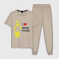 Пижама хлопковая мужская I love deep house цвета миндальный — фото 1