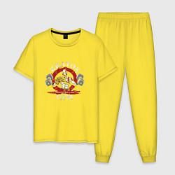 Пижама хлопковая мужская Kratos Gym цвета желтый — фото 1