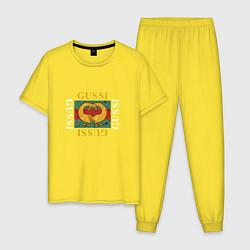 Пижама хлопковая мужская GUSSI Love цвета желтый — фото 1