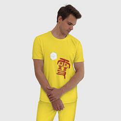 Пижама хлопковая мужская Бездомный бог цвета желтый — фото 2