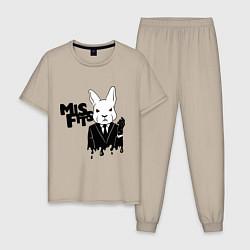 Пижама хлопковая мужская Misfits Rabbit цвета миндальный — фото 1