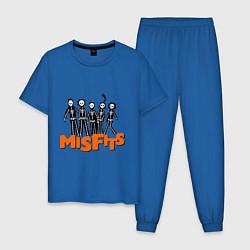 Пижама хлопковая мужская Misfits Skeletons цвета синий — фото 1