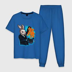 Пижама хлопковая мужская Rabbit magician цвета синий — фото 1